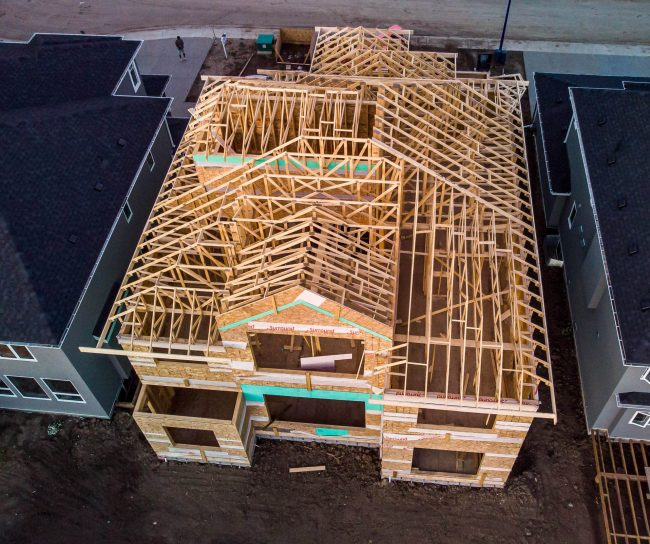 House with roof truss installed